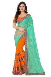 Lycra Pallu Embroidered Designer Orange And Green Color Saree