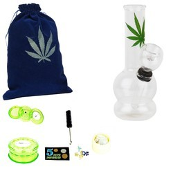 Newzenx Glass Bong Leaf Bong Water Pipe 5 Inch Glass Smoking Pipe Including Smoking Accessories