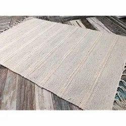 White Printed Cotton Rug