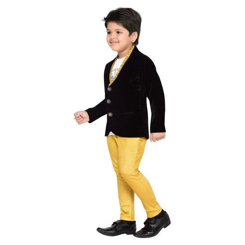 cf040211d72d Boys Black And Yellow Kids Fashionable Party Wear 2 Piece Suit