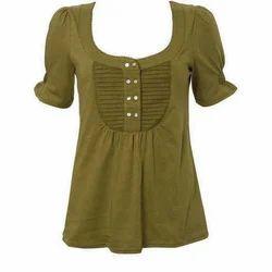 Ladies Green Half Sleeves Cotton Top