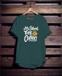 Male Round Green Cotton T Shirt