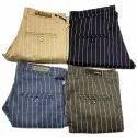 Formal Wear Strips Mens Cotton Striped Trousers, Size: 28-34