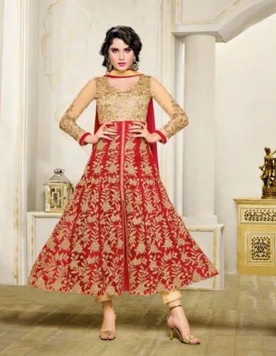 6db10e488f Designer Red And Golden Western Dress Stone Work Salwar Kameez Suite ...
