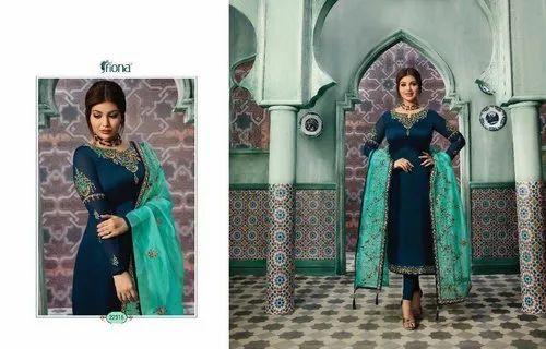 7f97a5e691 Fiona Ayesha Vol2 Satin Georgette Salwar Suit With Organza Silk Dupatta