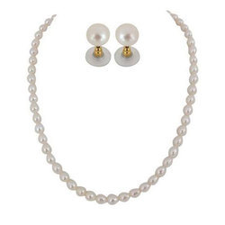 Designer Pearl Necklace Set, Packaging Type: Box