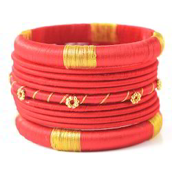 Indian Handcraft Fashion Colour Wrapped Silk Thread Bangles