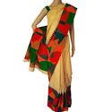 Aartyz Same As Saree Cream Raw Silk Saree, With Blouse Piece, Blouse Size: 1 M