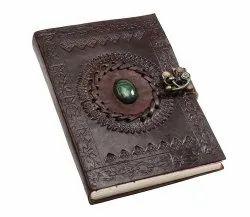 Large Handmade Leather with Lock, Stone Journal