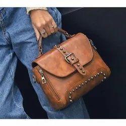Brown Adjustable Ladies Leather Hand Bag