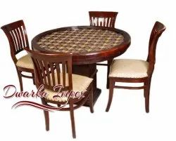 Dwarka Impex Solid Wood Round 4 Seater Diniing Table Set (Metal Fitting With Glass Top)