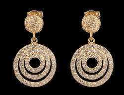 Charming Circles Cubic Zirconia Brass Dangle Earring