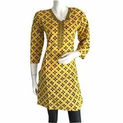 Yellow Embroidery Cotton Kurti
