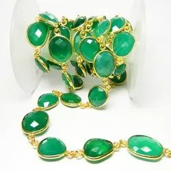 Gold Plated Green Onyx Bezel Connector Chain