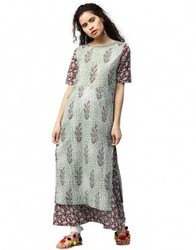 Women Green Booti Print Embroidered & Double Layered A-Line Cotton Kurta