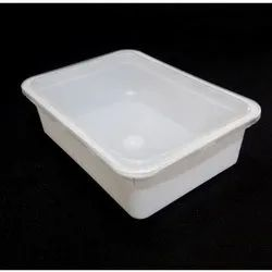 White Rectangular Plastic Food Container, Capacity: 100 Ml-1000 Ml, for Food Packaging