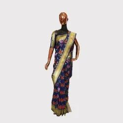 Navy Blue Katan Silk Saree