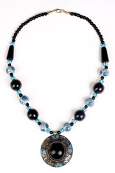 Antique Necklace Black with Sky Blue