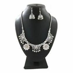 Oxidized Designer Necklace with Jhumka