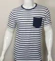 Striped Round Neck T Shirt with Pocket