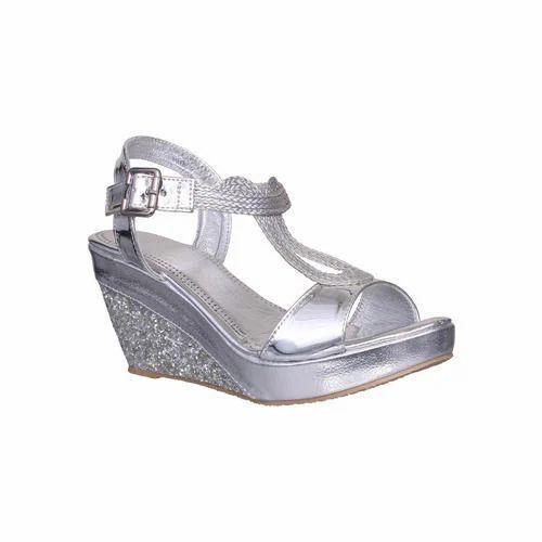 Silver Ladies Wedges Sandal