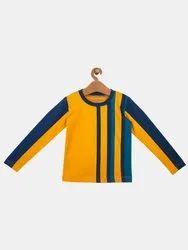 Kids Unisex Round Neck Printed Cotton T Shirt Dark Blue & Mustard Casual Wear T Shirt