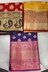 Party Wear Border Jari Saree, Without Blouse Piece, 6 m (With Blouse Piece)