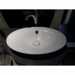 White Ceramic Oval Bathroom Wash Basin