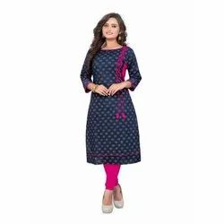 3/4th Sleeve Casual Wear Printed Cotton Kurti, Size: M-5XL