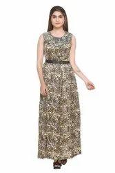 5E7A3483 Printed Round Neck Maxi Dress