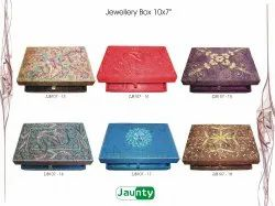 Jaunty Assorted Handwork Zari Embroidery Jewellery Box, Size: 2 Inches - 10 Inches