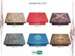 Beadsnfashion Rectangle Handwork Zari Embroidery Jewellery Box