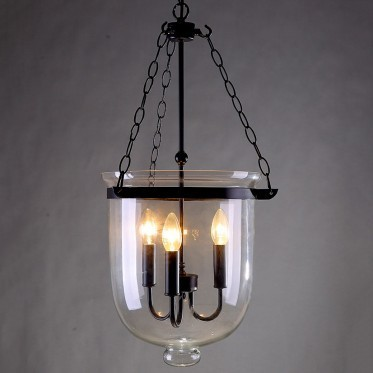 Retro Rustic Clear Glass Bell Jar Pendant Light With 3 Candle Lights