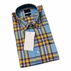 Full Regular Fit Mens Casual Check Shirt, Size: 38-44