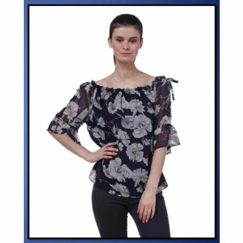 Shoulder Off 3/4Th Sleeves Girls Party Wear Georgette Printed Tops, Size: M to 4XL