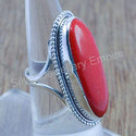 Amazing Coral Gemstone Handmade 925 Sterling Solid Ring