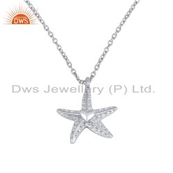 Star Design Womens Plain 925 Silver Chain Pendant