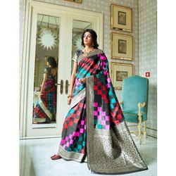 Silk Heavy Look and Beautiful Embroidered Saree, Length: 5.5 m (separate Blouse Piece)