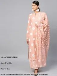 Peach Khari Printed Straight Kurta With Palazzo & Dupatta Set