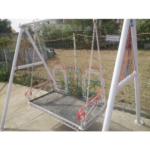 white mild steel and stainless steel garden jhula rs