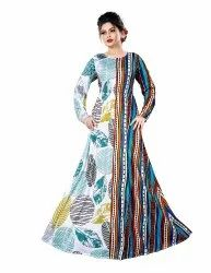 Ladies Leaf Printed Jersey Stretchable Long Maxi Gown Tops