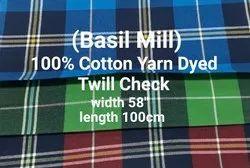 Yarn Dyed Twill Check Fabric ( Basil Mill)