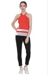 Black Womens Track Pant with Belt