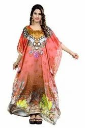 Floral Printed Casual Wear Satin Silk Free Size Kurtas Kaftan For Women