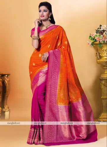 58c23c1d06 Meghdoot Orange and Pink Colour Silk Woven Saree at Rs 4250 /piece ...