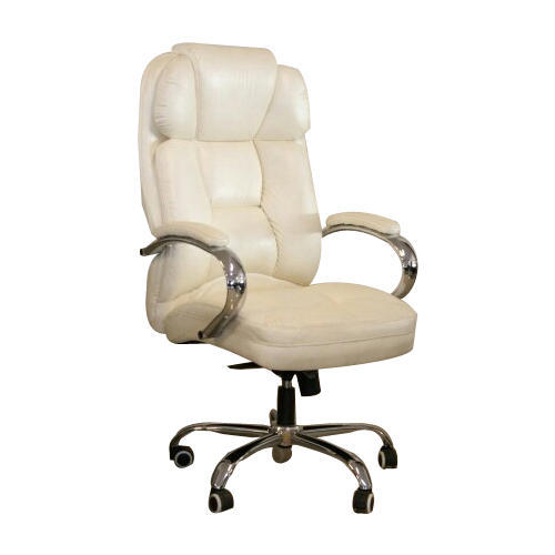 DNV Off White Rotatable Leather Office Chair
