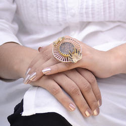 Geometric Design Gold Plated Coin Statement Ring