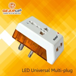 White & Orange LED Travel Adapter