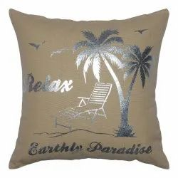 Cotton Woven Foil Print Cushion Cover