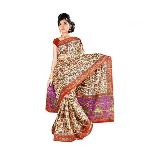 Art Silk Printed Sarees, Machine Made